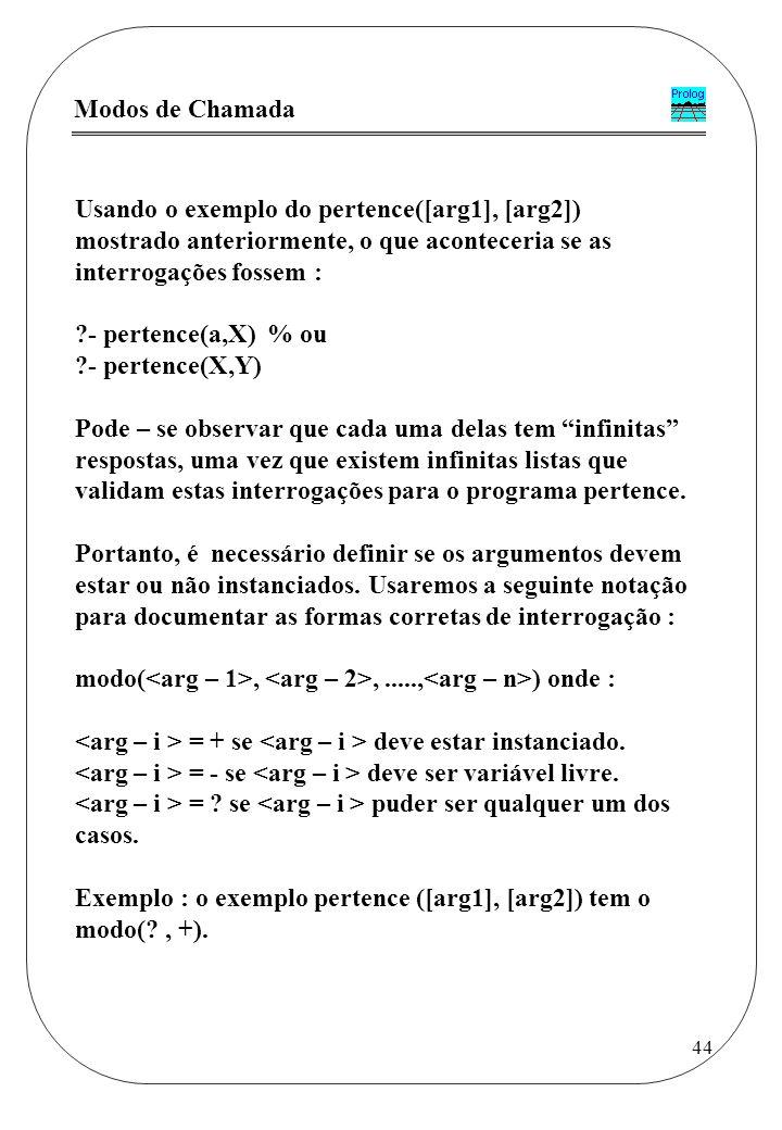 Modos de Chamada Usando o exemplo do pertence([arg1], [arg2]) mostrado anteriormente, o que aconteceria se as interrogações fossem :